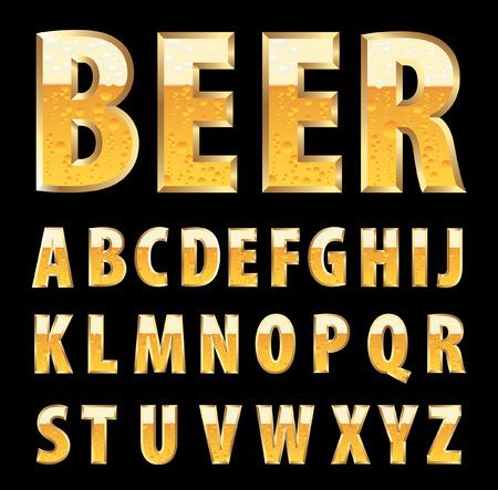 carta de agua liquida: letras de oro con textura de la cerveza