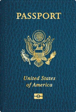 passaporto: vettore pelle blu copertina del passaporto USA