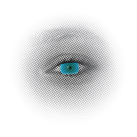 abstract eye: vector dotted halftone raster blue eye