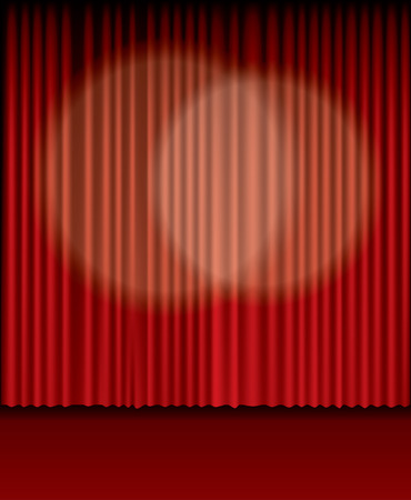 background with two spot lights on red curtain  Vector