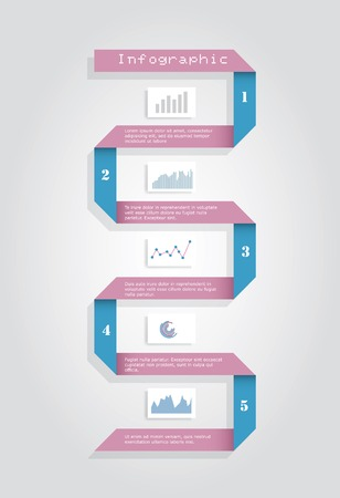 timeline infographic with paper ribbon Vector