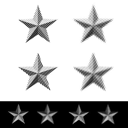 dotted lines: vector linear and dotted raster stars Illustration