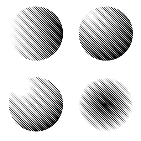 vector set of halftone spheres with linear raster Vector