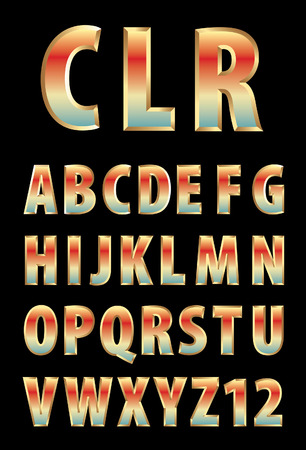 textual: 3d golden alphabet with color reflection  Illustration