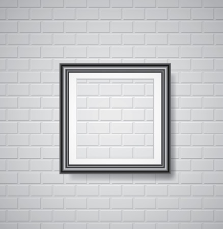vector black empty frame on white brickwall Vector