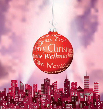 vector red city silhouette with big blue Christmas ball in six languages Vector