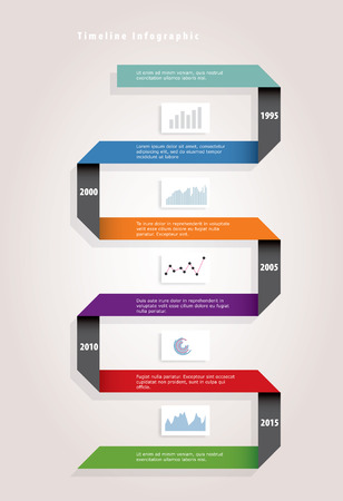 timeline infographic with color paper ribbon  Vector