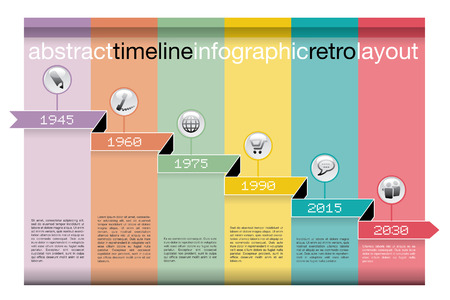 vector abstract color timeline infographic with icons Vector