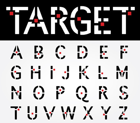 verbs: original vector font with target and red square Illustration