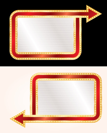 blank billboards with arrows and bulb lamps Vectores
