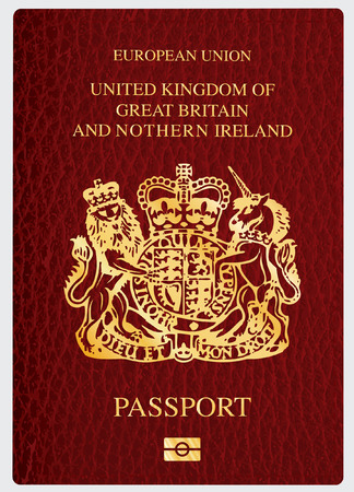 vector dekking van biometrische UK paspoort Stock Illustratie