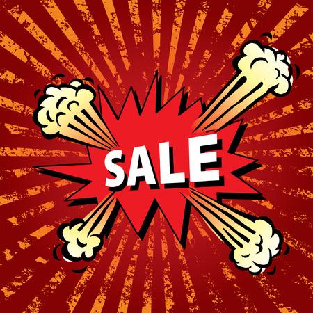 vector cartoon illustration of the sale explosion Vector