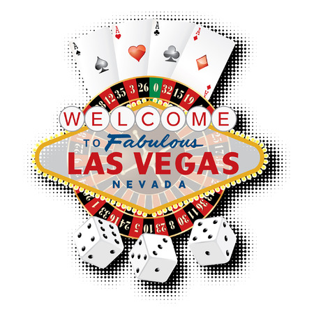 vegas sign: vector american roulette wheel with Las Vegas sign, playing cards and dice