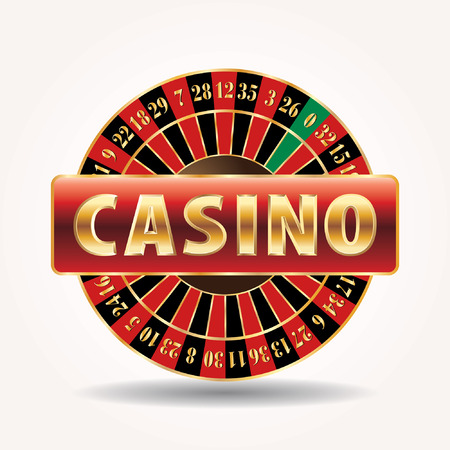 wagers: vector golden sign for casino with roulette wheel