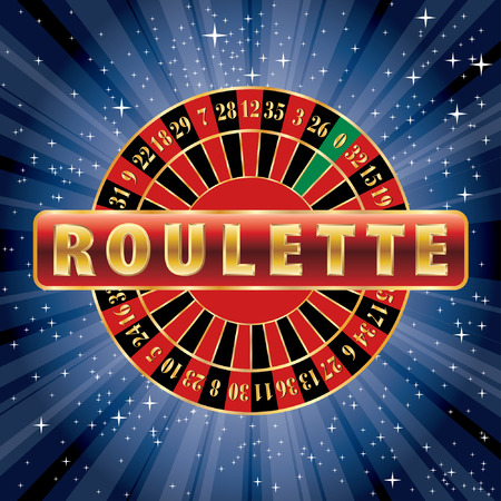 roulette table: red and golden sign with roulette wheel on starry night Illustration