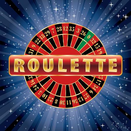 rueda de la fortuna: signo rojo y dorado con rueda de la ruleta en la noche estrellada Vectores