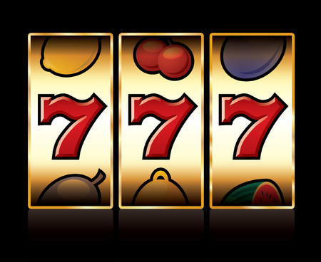 vector jackpot triple sevens at slot machine Ilustrace