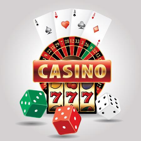 rueda de la fortuna: icono de vector con elementos de casino de juegos de azar Vectores
