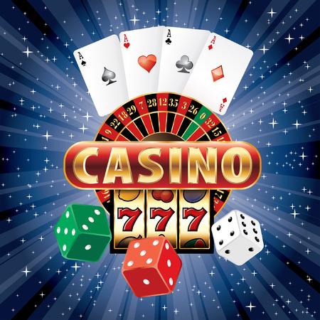 gambling casino elements on blue starry night