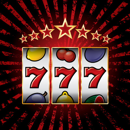 vector jackpot triple sevens at slot machine Illustration