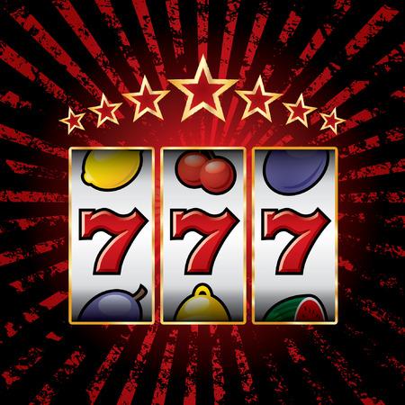 vector jackpot triple sevens at slot machine Vectores