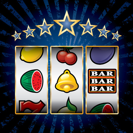 vector icons at slot machine on blue burst background Vectores