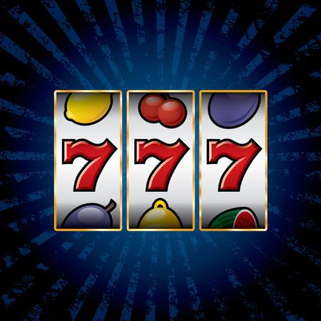 vector jackpot triple sevens at slot machine 일러스트