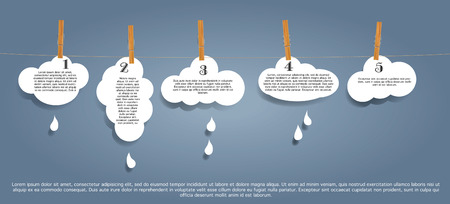 abstract original infographic vector illustration with clouds on rope Vector