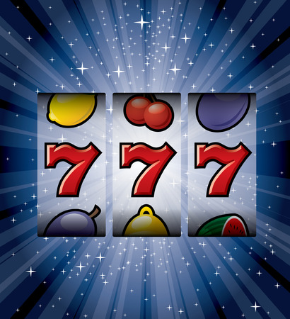 slot machine: vector three seven on starry night