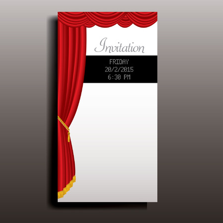 broadway: layout of invitation card with red stage curtain Illustration