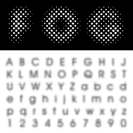 darkly: original vector dotted halftone raster font