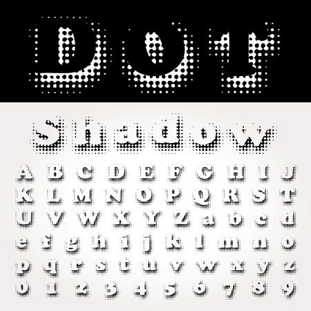 vector dotted shadow halftone raster font Vector