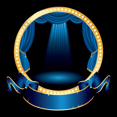 vegas strip: vector blue blank banner on blue circle stage with spotlights