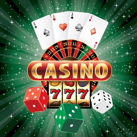 Vektor Glücksspiel Casino-Elemente auf der grünen Starburst Vektorgrafik
