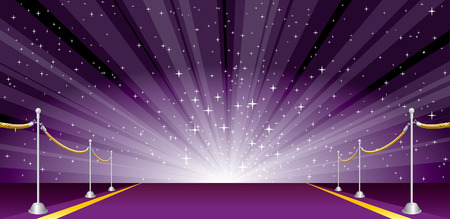 vector illustration with purple carpet and star burst
