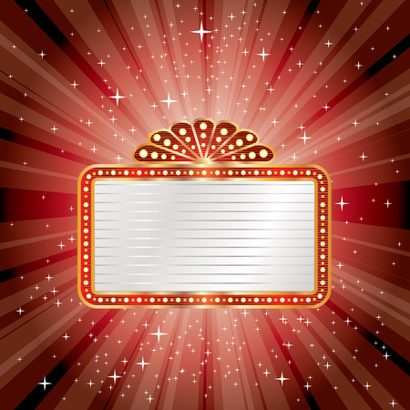theatre symbol: vector red starburst with blank billboard