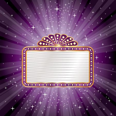 vector paarse starburst met lege billboard