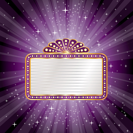 movie theater: vector purple starburst with blank billboard