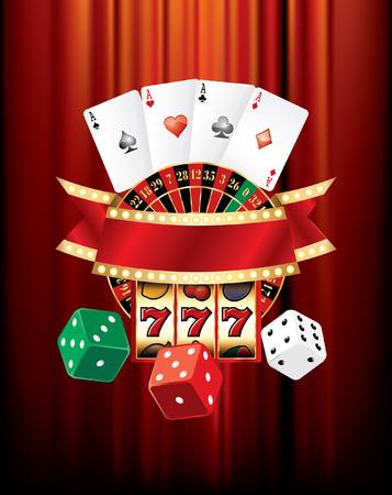 tragamonedas: elementos de casino de juegos de azar del vector en terciopelo rojo Vectores
