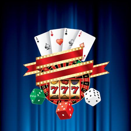 slot: vector gambling casino elements on blue velvet Illustration