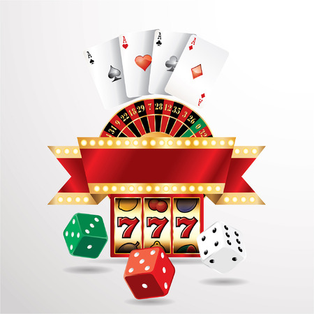 vector gambling casino elements with blank banner