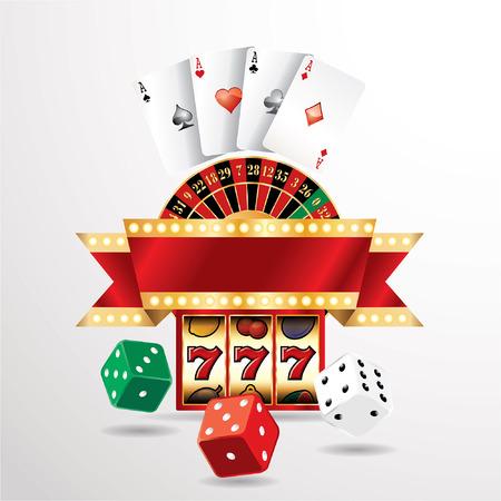 elementos de casino de juegos de azar del vector con la bandera en blanco Vectores