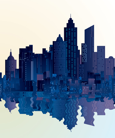 watter: vector city skylines with reflection in water