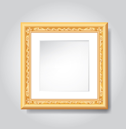 golden frame: vector vintage golden frame on white wall