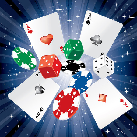 dados: dados vector, tarjetas y fichas de juego en el fondo de la noche estrellada Vectores