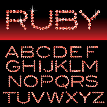 precious stone: vector alphabet with ruby rocks