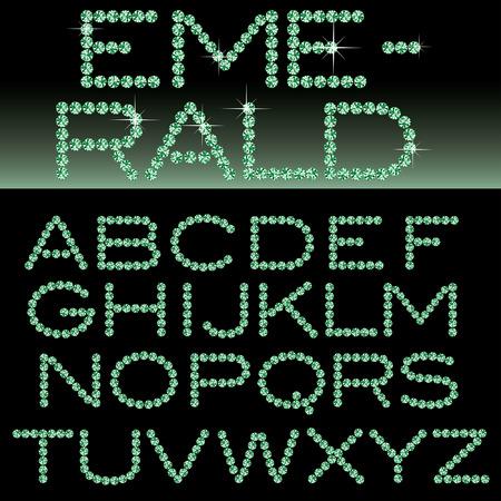 bijou: vector alphabet with emerald rocks