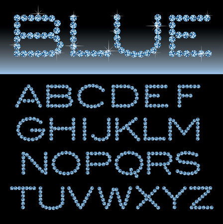 vector alphabet with blue rocks Vettoriali
