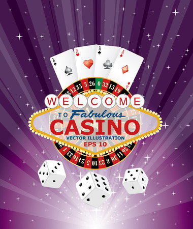 purple burst with casino gambling icons Illustration