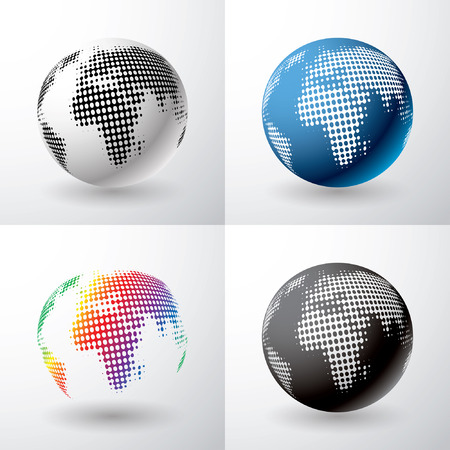 dimly: vector globe icon with dots in four variations